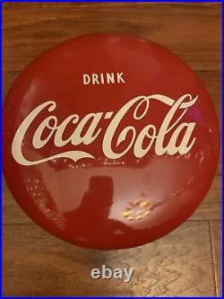 Vintage 1950's Drink Coca Cola Soda Pop Gas Station 16 Metal Button Sign