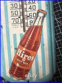 Vintage 1950's Hires Root Beer Soda Pop 27 Metal Thermometer SignWorks