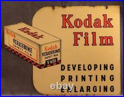 Vintage 1950's KODAK VERICHROME FILM 2-Sided Metal Sign Store Advertising