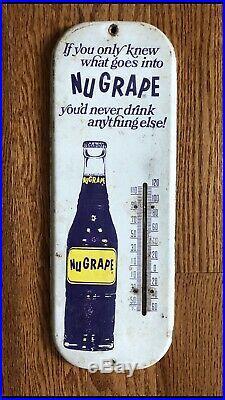 Vintage 1950's NuGrape Nu Grape Soda Pop Gas Station 16 Metal Thermometer Sign