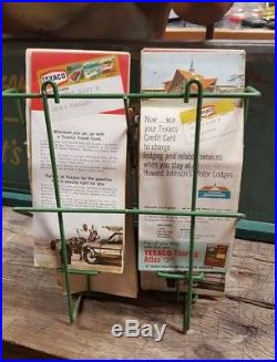 Vintage 1950's Texaco Gas Station Metal Map Holder Sign W Maps Touring Service
