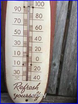 Vintage 1950s Coca Cola Soda Pop Metal Cigar Thermometer 30 Sign Advertising