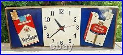 Vintage 1950s Curved Metal Phillip Morris Advertising Clock / Sign WORKS Tobacco