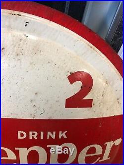 Vintage 1950s Dr Pepper Soda Pop Bottle Cap Metal Sign 10 2 4 Original RARE