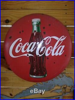 Vintage 1950s Era Coca-Cola 24 Metal Button Sign Metal Porcelain HighlyCollect