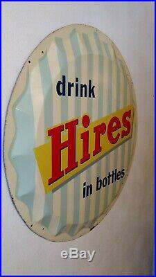 Vintage 1950s Hires Root Beer Metal Bottle Cap Sign