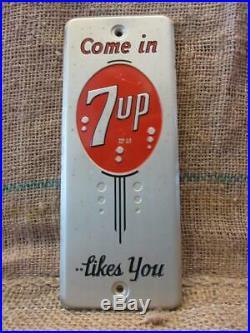 Vintage 1950s Metal 7up Door Push Sign Antique Old Cola Soda Pop Store 7830