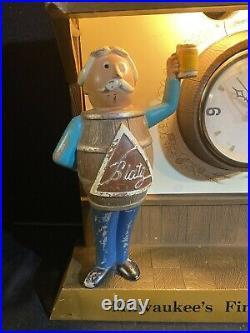Vintage 1950s Metal Blatz Beer Barrel Man Lighted Sign & Clock Works Great