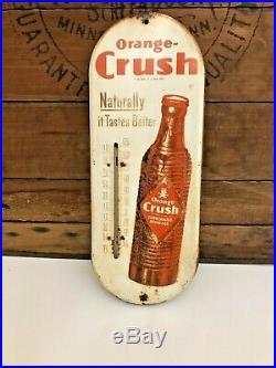 Vintage 1950s Orange Crush Soda Pop Advertising Thermometer Metal Sign