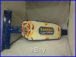 Vintage 1950s Rainbo Bread Sign Door Push Bar Heavy Duty Metal 621-X