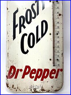 Vintage 1951 Dr Pepper Metal Sign Frosty Thermometer Working 25 DONASCO