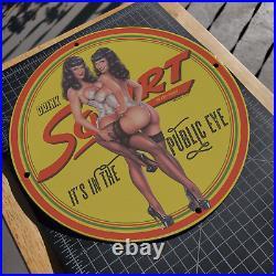Vintage 1951 Squirt Carbonated Beverages Porcelain Gas & Oil Metal Sign