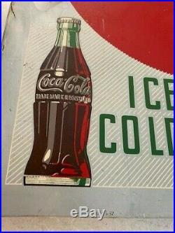 Vintage 1952 Double-Sided Drink Coca Cola Flange Metal Sign Ice Cold Original