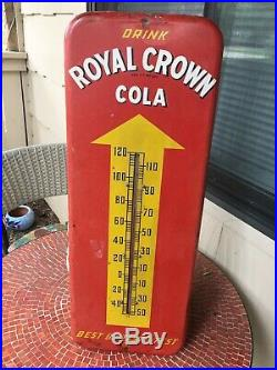 Vintage 1952 RC Royal Crown Cola Soda Pop 26 Metal Thermometer Sign Working