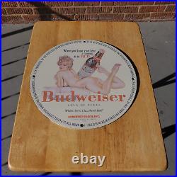 Vintage 1953 Budweiser Beer Brewing Company Porcelain Gas & Oil Metal Sign