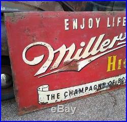 Vintage 1953 Miller High Life Beer Tavern Gas Oil Billboard Metal Sign 92