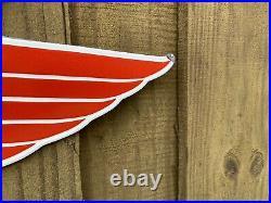Vintage 1953 Mobil Gas Red Pegasus Horse Porcelain Metal Sign XL Double Sided