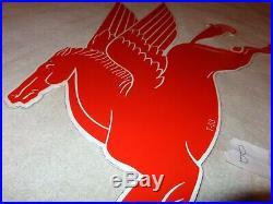 Vintage 1953 Mobil Mobilgas Pegasus Horse 29 Porcelain Metal Gasoline Oil Sign
