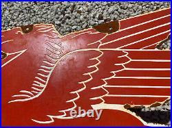 Vintage 1953 Mobil Pegasus Porcelain Metal Sign Oil & Gas Station Flying Horse