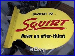 Vintage 1955 Authentic Switch to Squirt Soda Double Sided Metal Flange Sign Soda