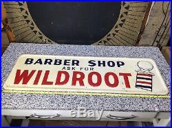 Vintage 1955 Original WILDROOT Barber Shop Colorful Tin Metal Advertising Sign