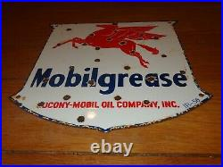 Vintage 1956 Mobil Mobilgrease Pegasus 11 3/4 Porcelain Metal Gasoline Oil Sign