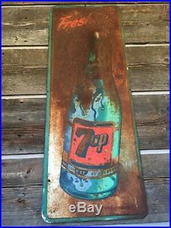 Vintage 1959 7up Fresh up Embossed Antique Metal Steel Sign Advertise Original