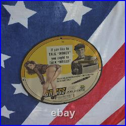 Vintage 1959 Briggs Adjustable Shock Absorbers Porcelain Gas & Oil Metal Sign