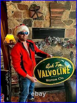 Vintage 1959 Metal Valvoline Motor Oil Bubble Button Sign 28X20