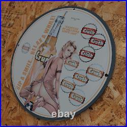 Vintage 1959 Orange Crush Carbonated Soft Drinks Porcelain Gas & Oil Metal Sign