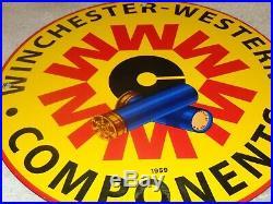 Vintage 1959 Winchester Western Components 12 Porcelain Metal Gun & Bullet Sign