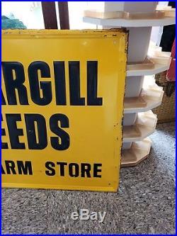 Vintage 1960's Cargill Seed Corn Farm 48'' Embossed Metal Sign