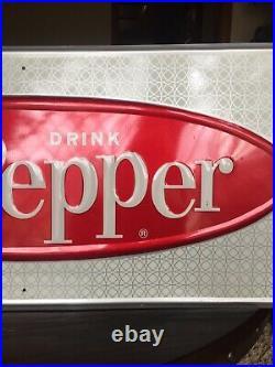 Vintage 1960's Dr Pepper Soda Pop 32 Embossed Metal Sign Excellent condition