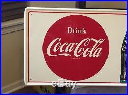 Vintage 1960's Original Coca Cola Button Metal Sign 32X12 Not Porcelain