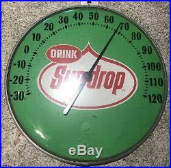 Vintage 1960's Sun Drop 12 Metal Thermometer