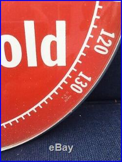 Vintage 1960s Dr Pepper Soda Pop Gas Oil 12 Metal & Glass Thermometer SignNice
