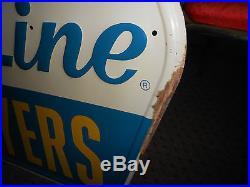 Vintage 1964 Hy-Line Layers Poultry Feed Metal Die Cut Embossed Sign