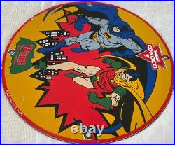 Vintage 1965 Batman N-tane Conoco Gasoline 12 Porcelain Metal Comic Oil Sign