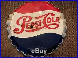 Vintage 1965 Pepsi Cola Soda Pop Bottle Cap Gas Station 19 Embossed Metal Sign