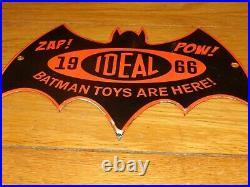 Vintage 1966 Ideal Batman Toys Are Here & Robin 11 3/4 Porcelain Metal Gas Sign