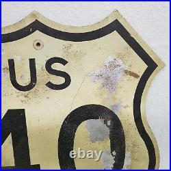 Vintage 1966 US Route 40 Highway Interstate Shield Sign Metal / Highway Man Cave