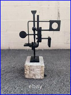 Vintage 1969 Abstract Brutalist Metal Sculpture Mid Century Modern Signed