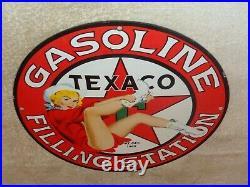 Vintage 1969 Texaco Station Cowgirl 11 3/4 Porcelain Metal Gasoline Oil Sign