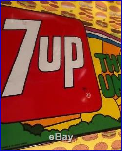 Vintage 1970's Stout Co. 7 Up The Unclola Rainbow Metal Advertising Sign