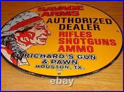 Vintage 1972 Savage Arms Richard's Gun & Pawn Texas 12 Porcelain Metal Gas Sign