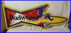 Vintage 1991 34 Budweiser Beer Metal Surf Board Bar Sign Anheuser Busch Signet