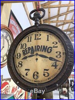 Vintage 19th Century Watch Clock Jewelry Repair Trade Sign Cast Iron Metal