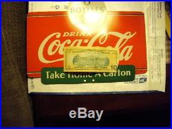 Vintage 2-Sided Drink Coca-Cola 6 Bottles 25 Cents Metal Coke Rack Sign 1937