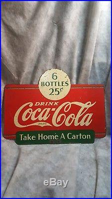 Vintage 2-Sided Drink Coca-Cola 6 Bottles 25 Cents Metal Coke Rack Sign 1938