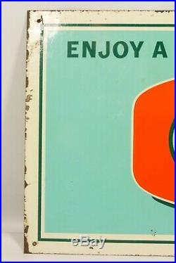 Vintage 31 x 14 ORANGE CRUSH Porcelain Enamel on Metal Sign 1950s-60s RARE